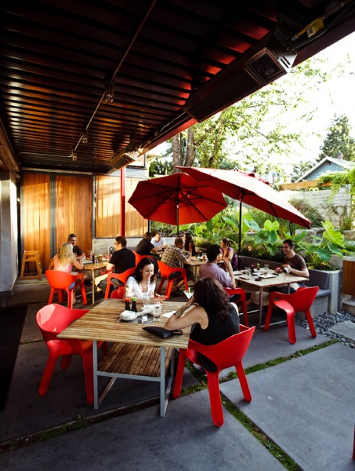 Yakuza patio and burger yumm!! Patio, Outdoor tables