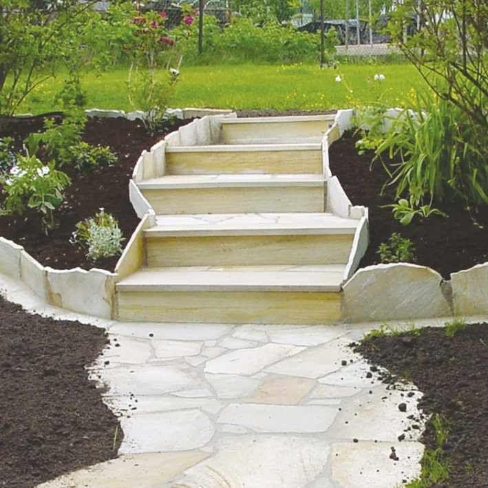 Naturstein Polygonalplatten Quarzit Gelb Terrasse Gartenideen