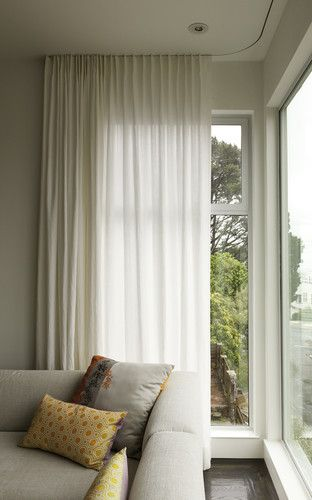 Modern curtains on recessed track modern window treatments #TallWindows #LoftyWindows #WindowTreatments #windowtreatments
