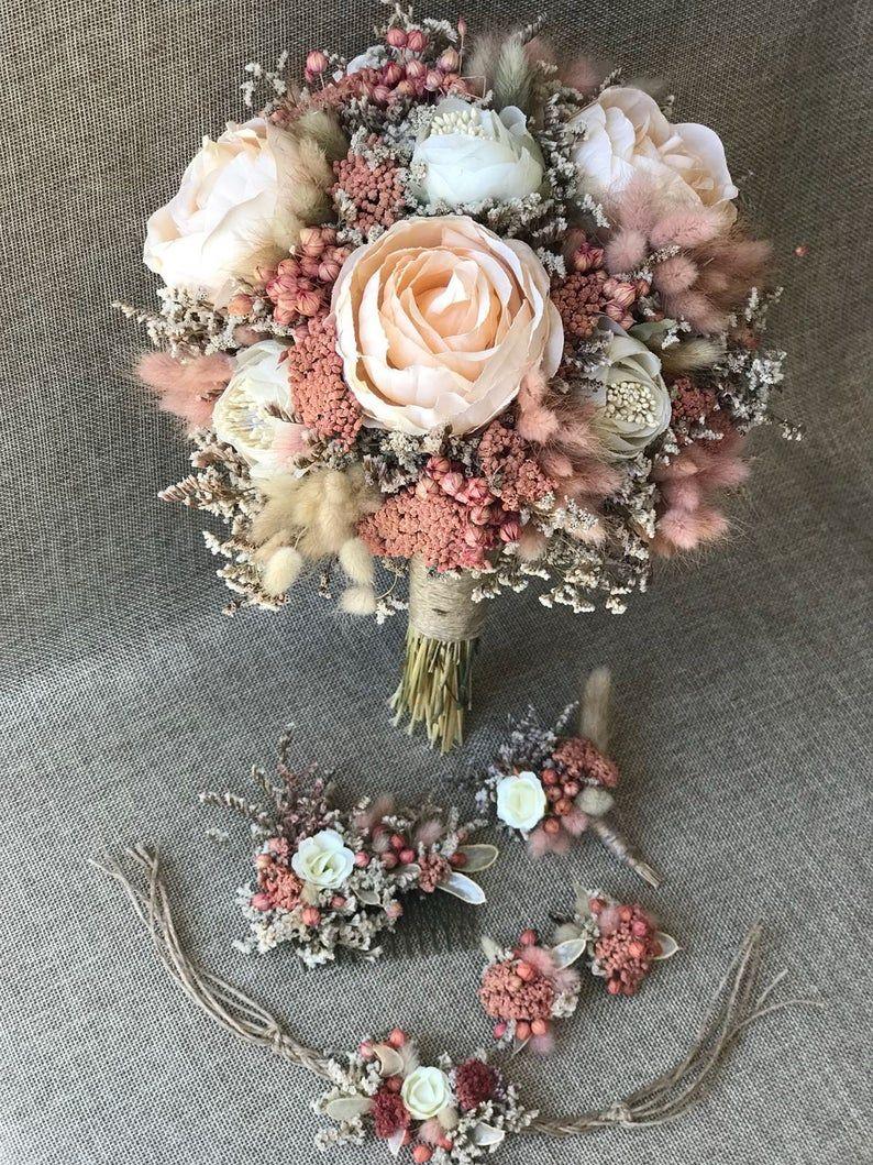 Wedding Bridal Day Natural Dried Flower - Bridal Bouquet, Groom Boutonniere, 3 little children flower (5 Pieces)