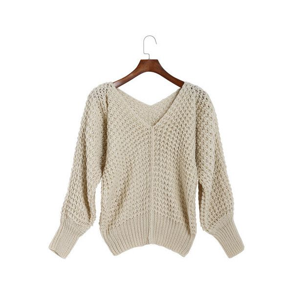 SheIn(sheinside) Beige V Neck Long Sleeve Loose Knit Sweater (1,000 PHP) ❤ liked on Polyvore featuring tops, sweaters, beige, pullover sweater, v-neck sweater, v-neck pullover sweater, brown sweater and long sleeve sweaters