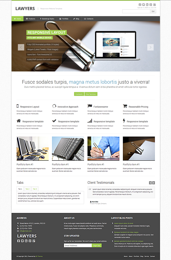 Lawyers - inexpensive responsive website template for lawyer ...