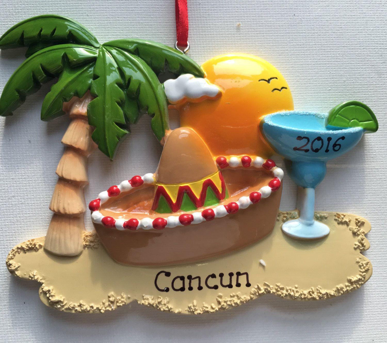 Personalized Christmas Ornament Cancun Mexico  Hawaii Honolulu