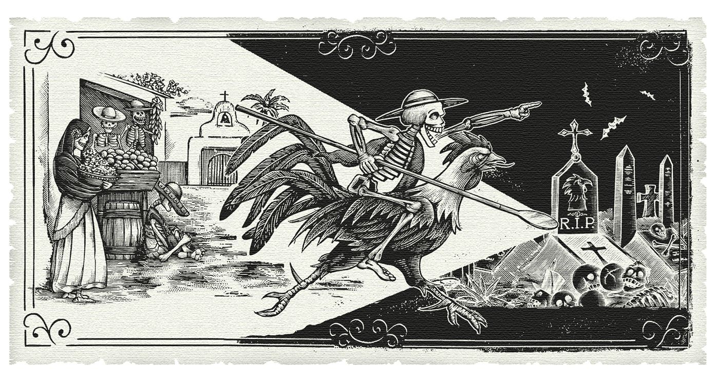 Espolón Tequila Label Illustrations by Steven Noble on
