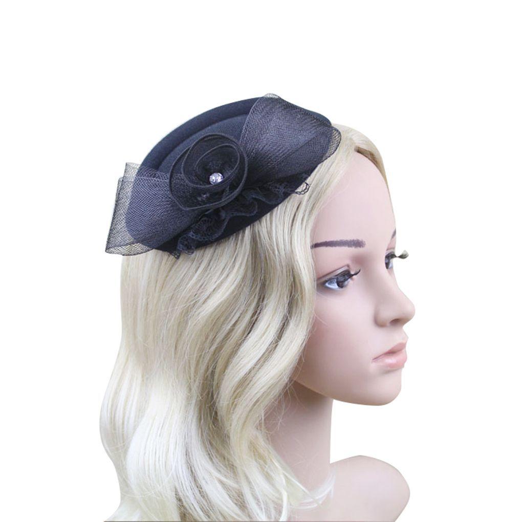 Women Bow Feather Net and Veil Hat Wedding Party Hair Clip Headdress ...