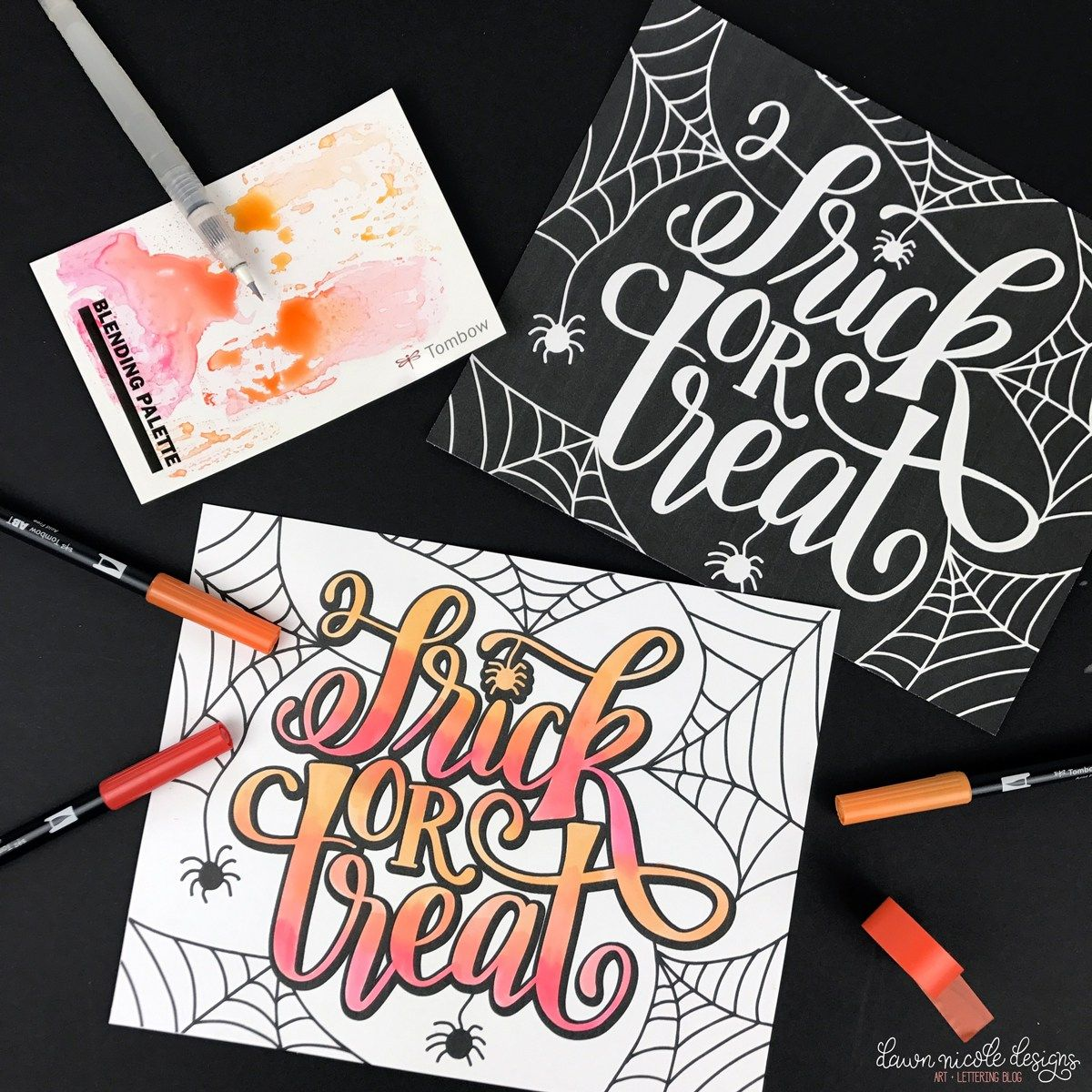 Hand Lettered Trick Or Treat Coloring Pages