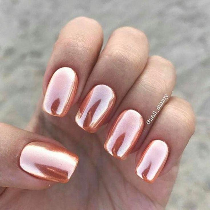 Rose gold summer nail art. Shiny metallic stunning nail lacquer ...