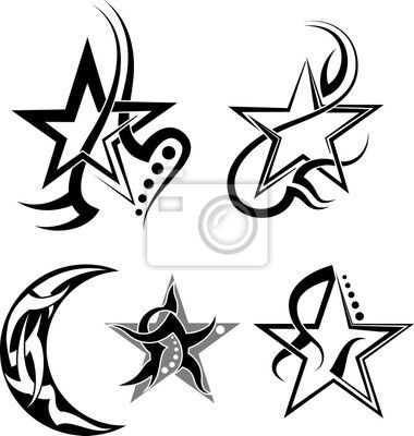 Tribal Star Tattoo Designs Wall Mural Star Moon Tribal Tattoo