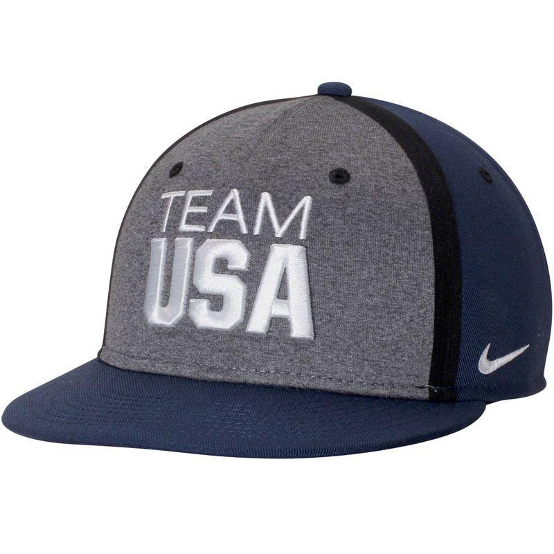 Team USA Nike True Players Adjustable Hat - Heathered Gray Navy ... d727e63fca78