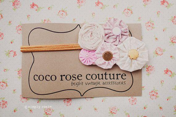 rosette yo yo vintage headband in light pinks by cocorosecouture, $15.00