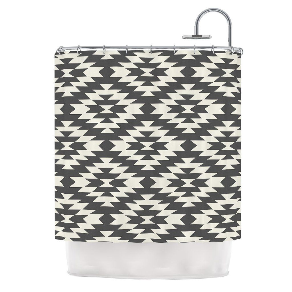 Amanda Lane Navajo Black Cream Tribal Geometric Shower Curtain