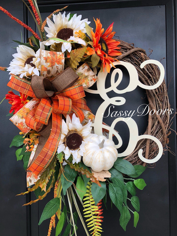 Fall Monogram Wreath Hydrangea Front Door Thanksgiving Grapevine