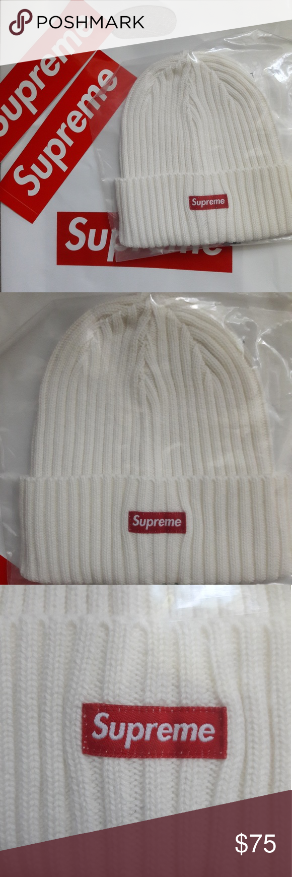 faa6defd58a Supreme Overdyed Ribbed Beanie SS18 White Supreme Overdyed Ribbed Beanie  SS18. One size. Supreme stickers and bag included like in picture.