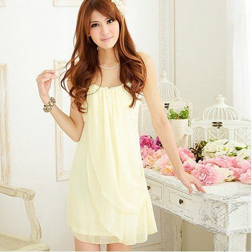 Sweet Lady Chiffon Tube Light Yellow Dress One Size