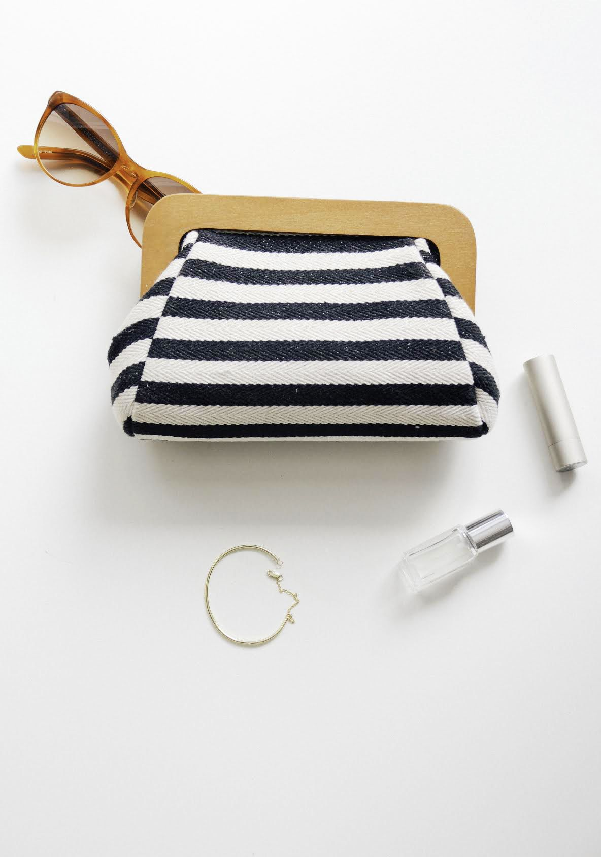 Striped Wooden Frame Clutch Things I Love Bag Accessories