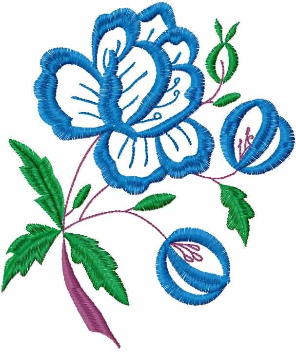 Blue Flowers Free Embroidery Design 24 Flowers Free Machine