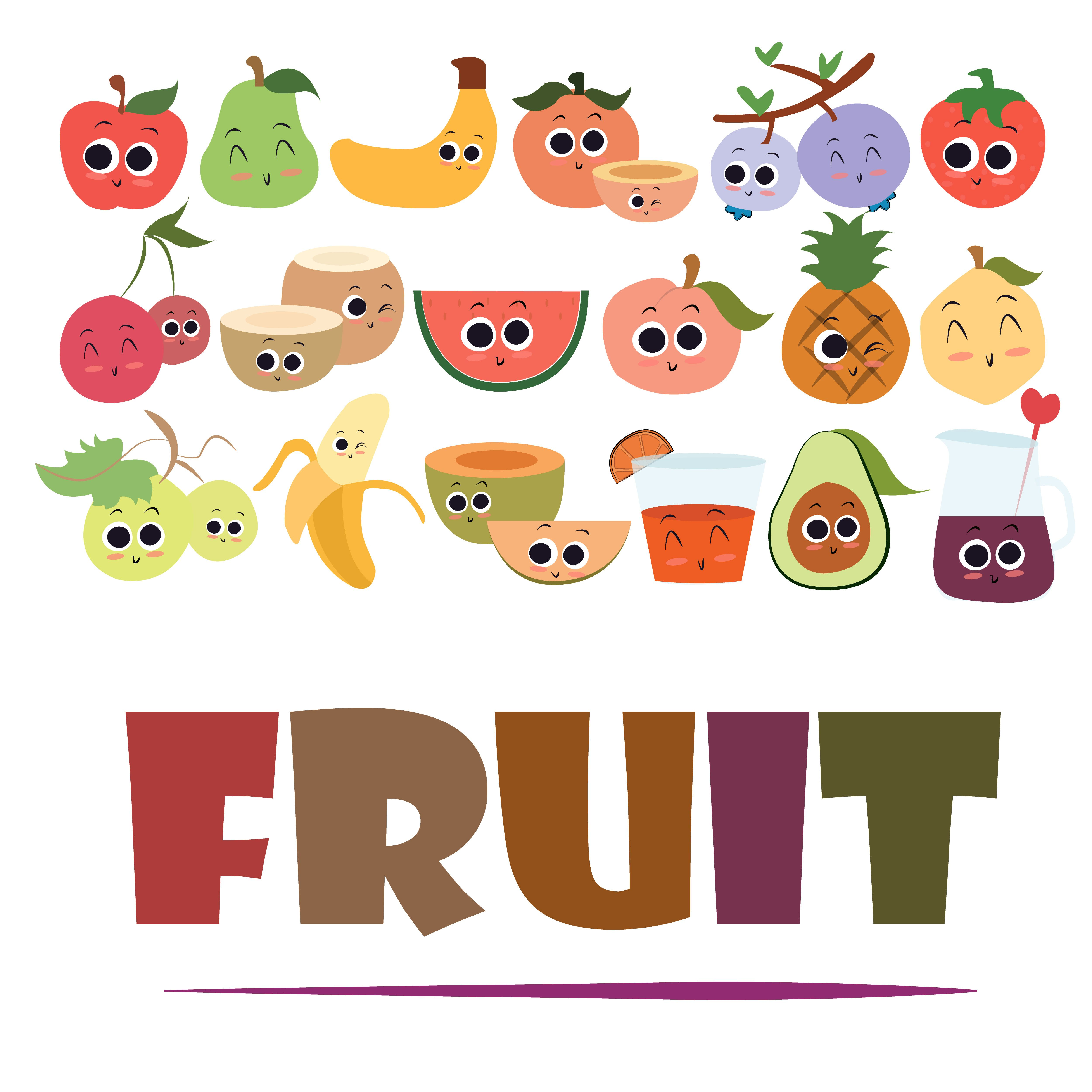 fruit; cartoon; fruits; funny; vector; illustration ...