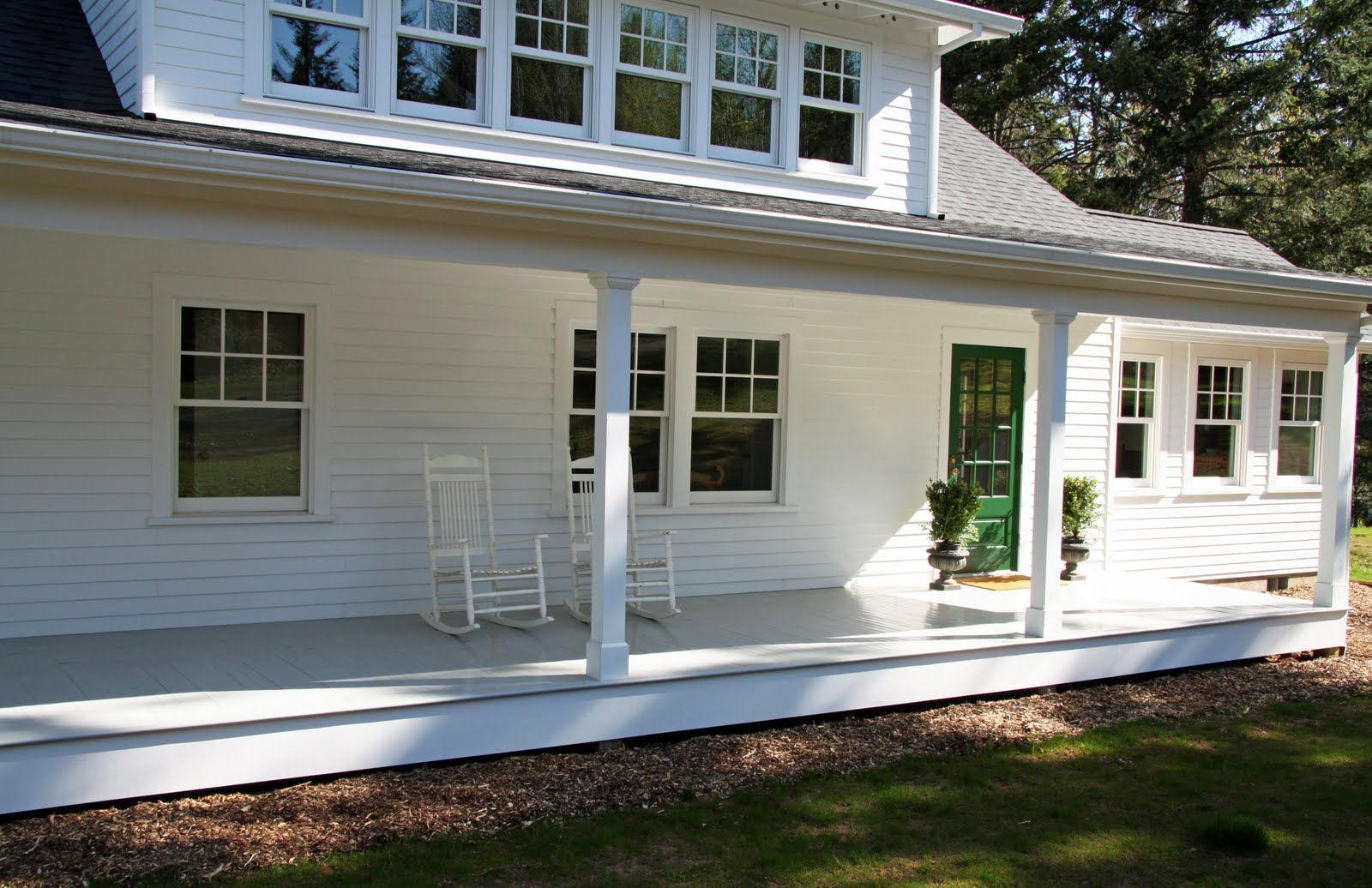 Love The Front Porch Door White No Shutters Dormer