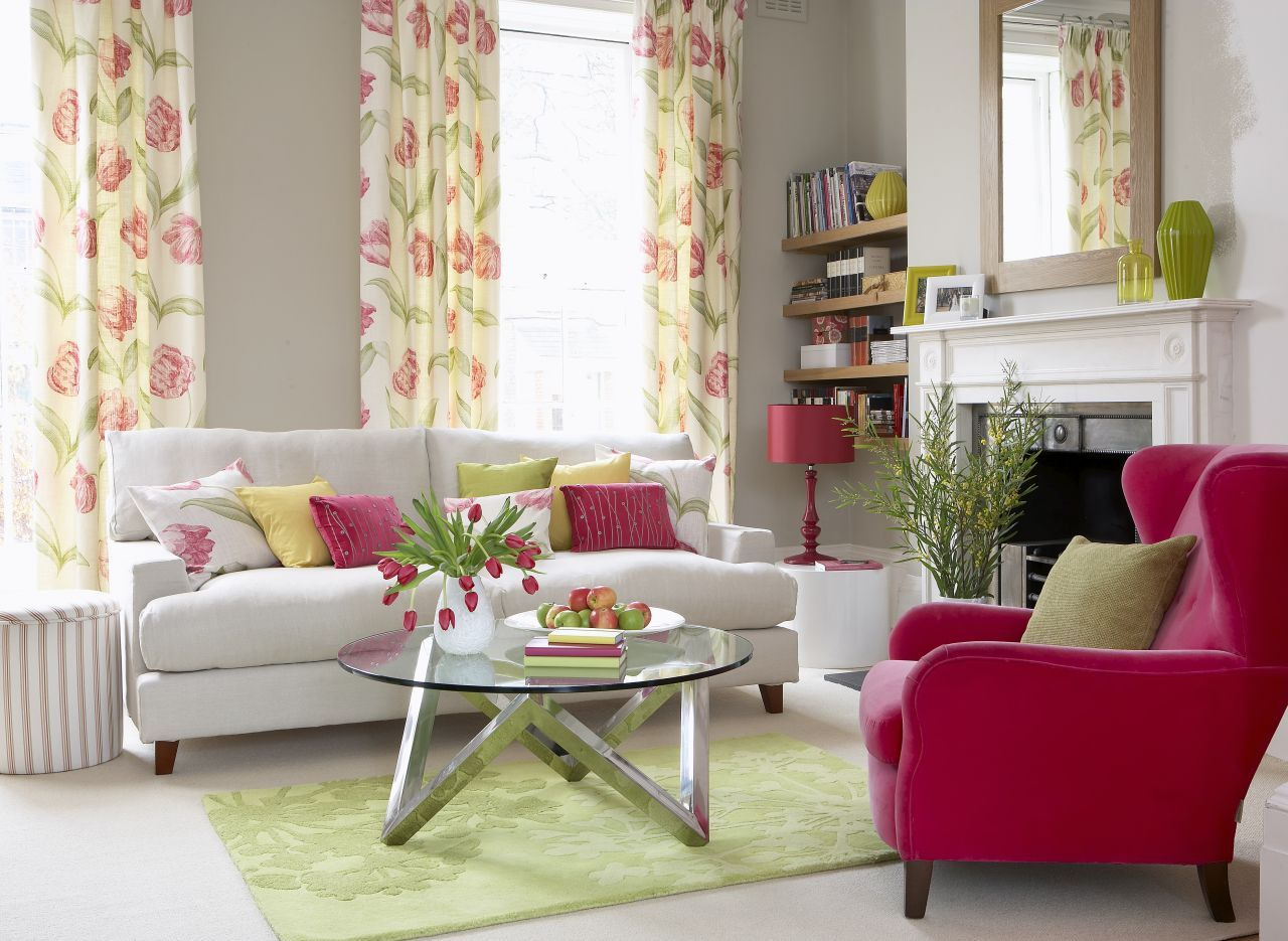 contrast bright raspberry pink with zesty green to create on living room color inspiration id=47377