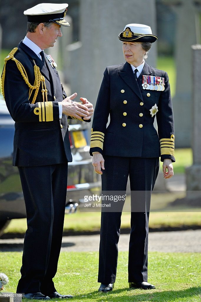 a1e39cad921 Her Royal Highness Princess Anne is joined by Vice Admiral Sir Tim Laurence  for a service at a war graves cemetery to mark the Battle of Jutland on May  28