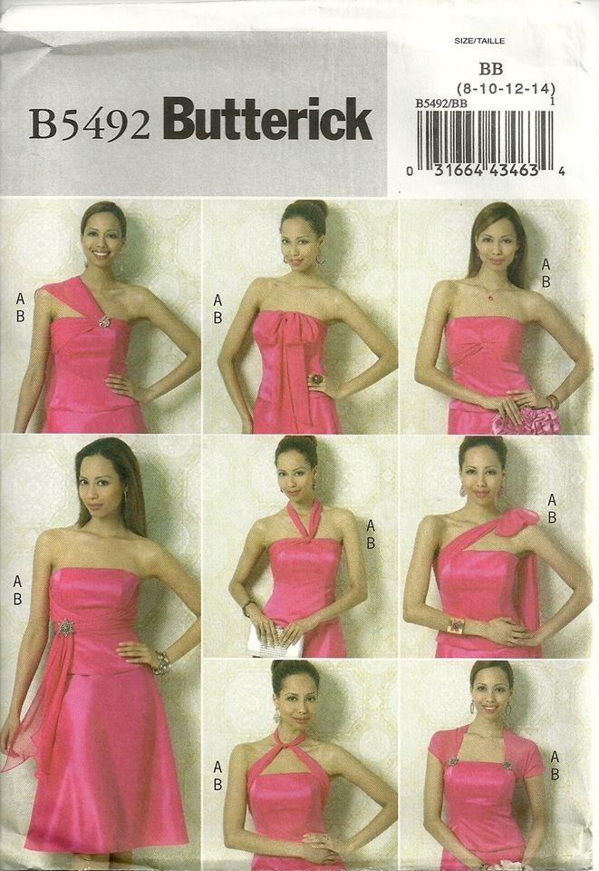 Butterick 5492 Bridesmaid Wedding Prom Dress Top Skirt Many Styles ...