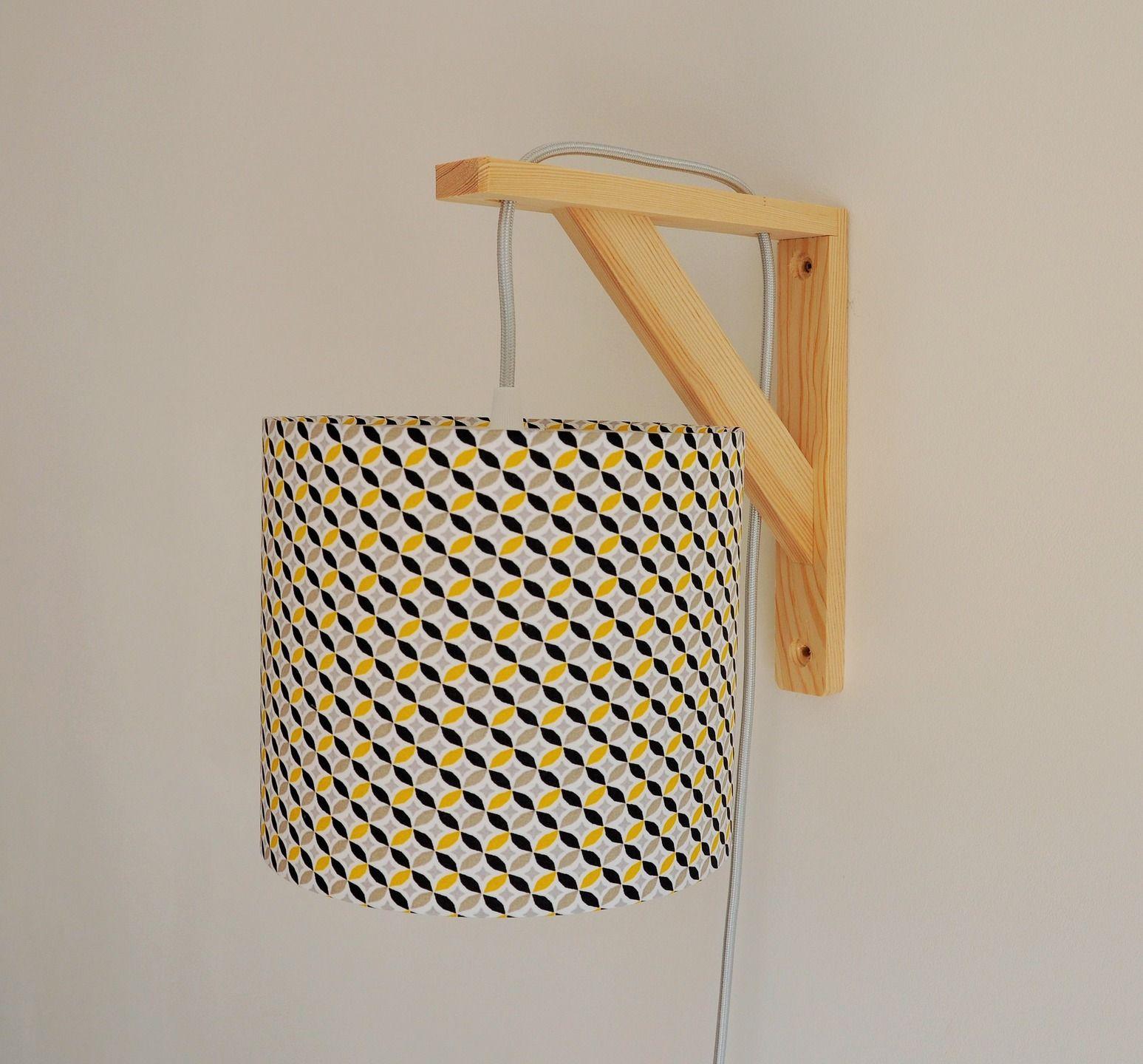 Lampe Equerre Applique Murale Formes Geometriques Jaune Et