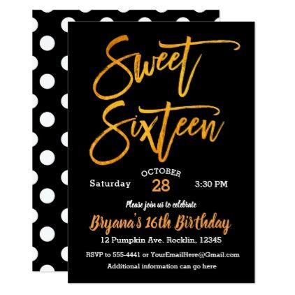 Orange Foil Sweet 16 Halloween Party Black White Invitation Pinterest - sweet 16 halloween party ideas