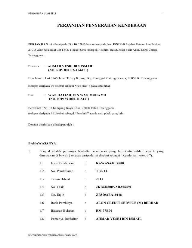 Contoh Surat Perjanjian Jual Beli Syarikat Surat Menyerah The Rules