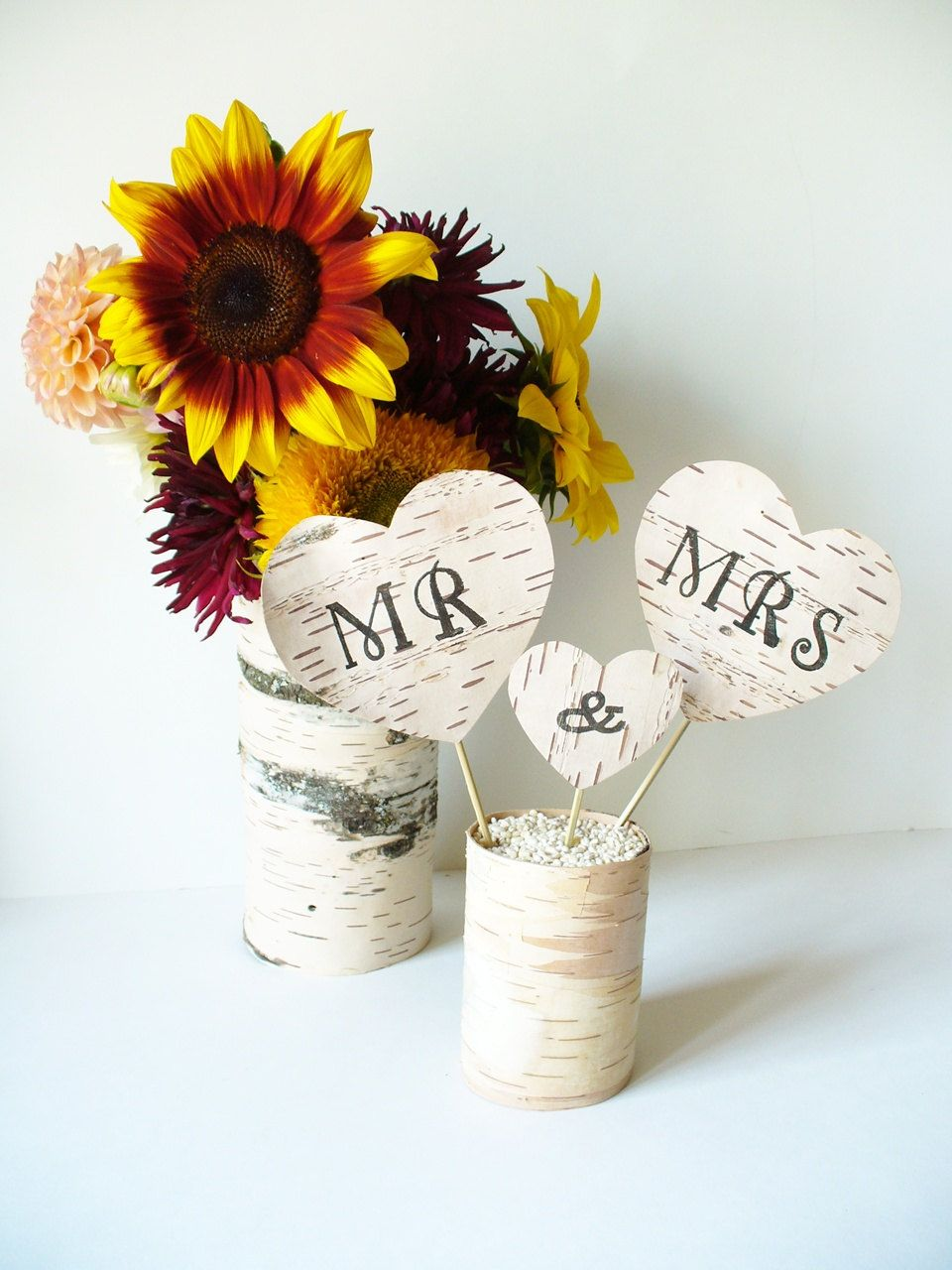 Wedding Cake Topper Mr & Mrs Birch Bark Rustic Country. $24.00, via Etsy.