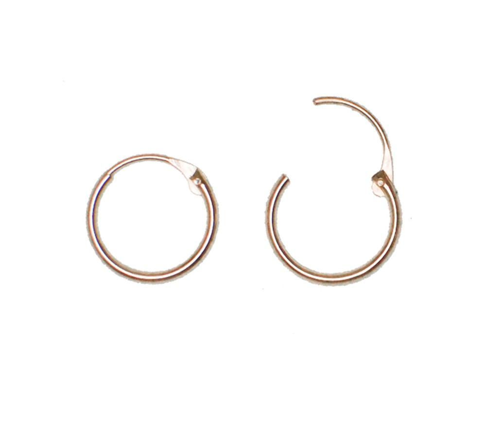 14k Yellow Gold EasyOn™ Hinged Thin Endless Hoop Earrings (1mm ...