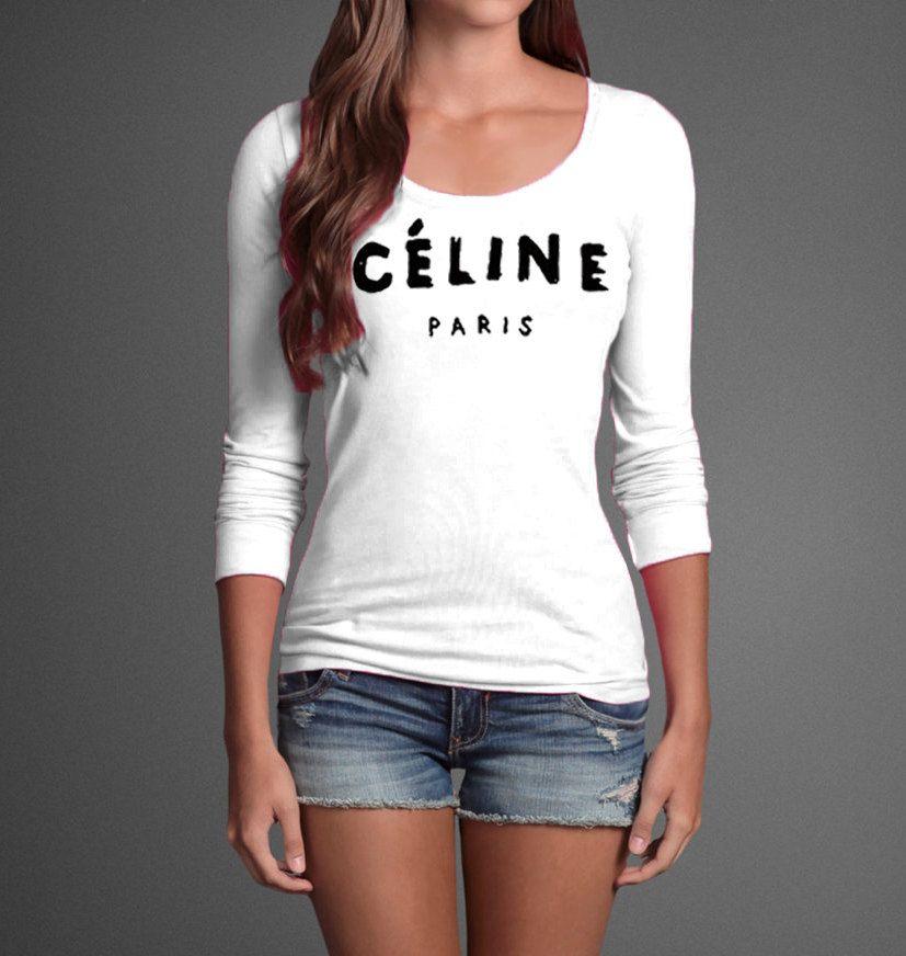 Celine paris inspired logo long sleeves ysl chanel t shirt for Ysl logo tee shirt