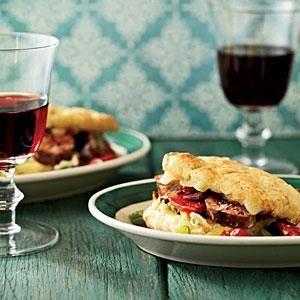 Italian Sausage-and-Fontina Biscuit Sandwiches Recipe | MyRecipes.com