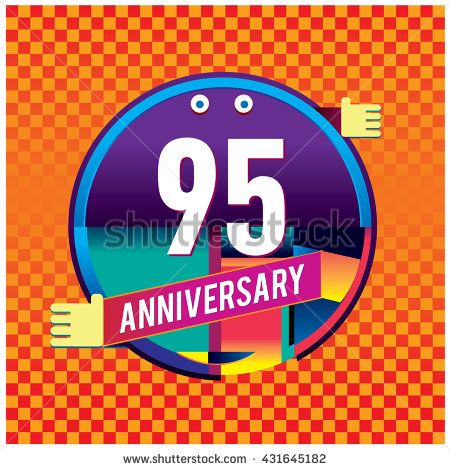 95th anniversary logo with colorful circle badge. Anniversary signs illustration. Vibrant colors anniversary logo with geometric shape and circle ring - stock vector
