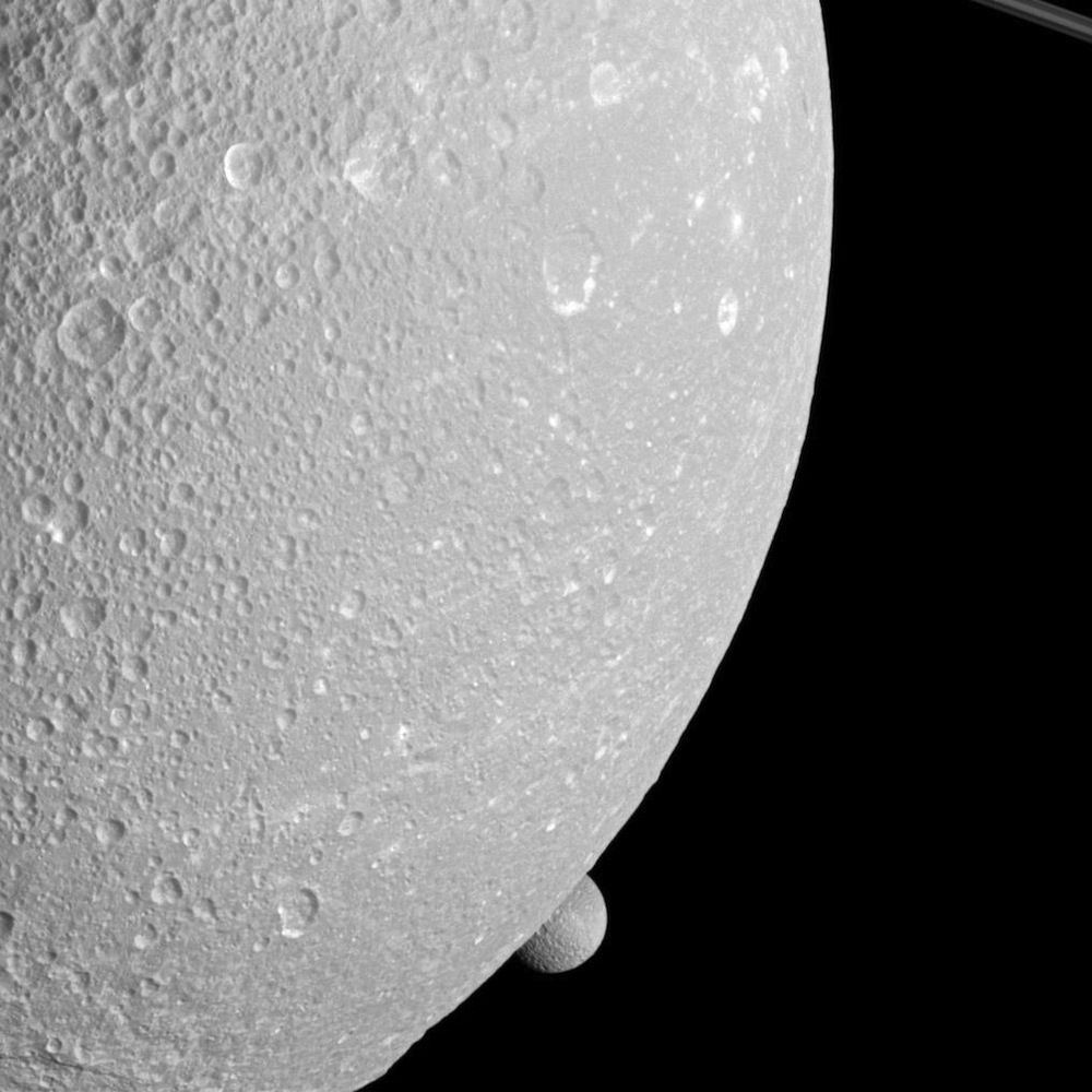 Saturn's moons Dione and Mimas