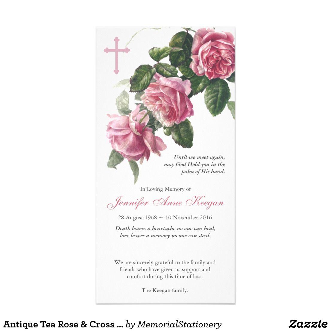 e7c081083 Antique Tea Rose & Cross Funeral Thank You | Zazzle.com.au | Funeral ...