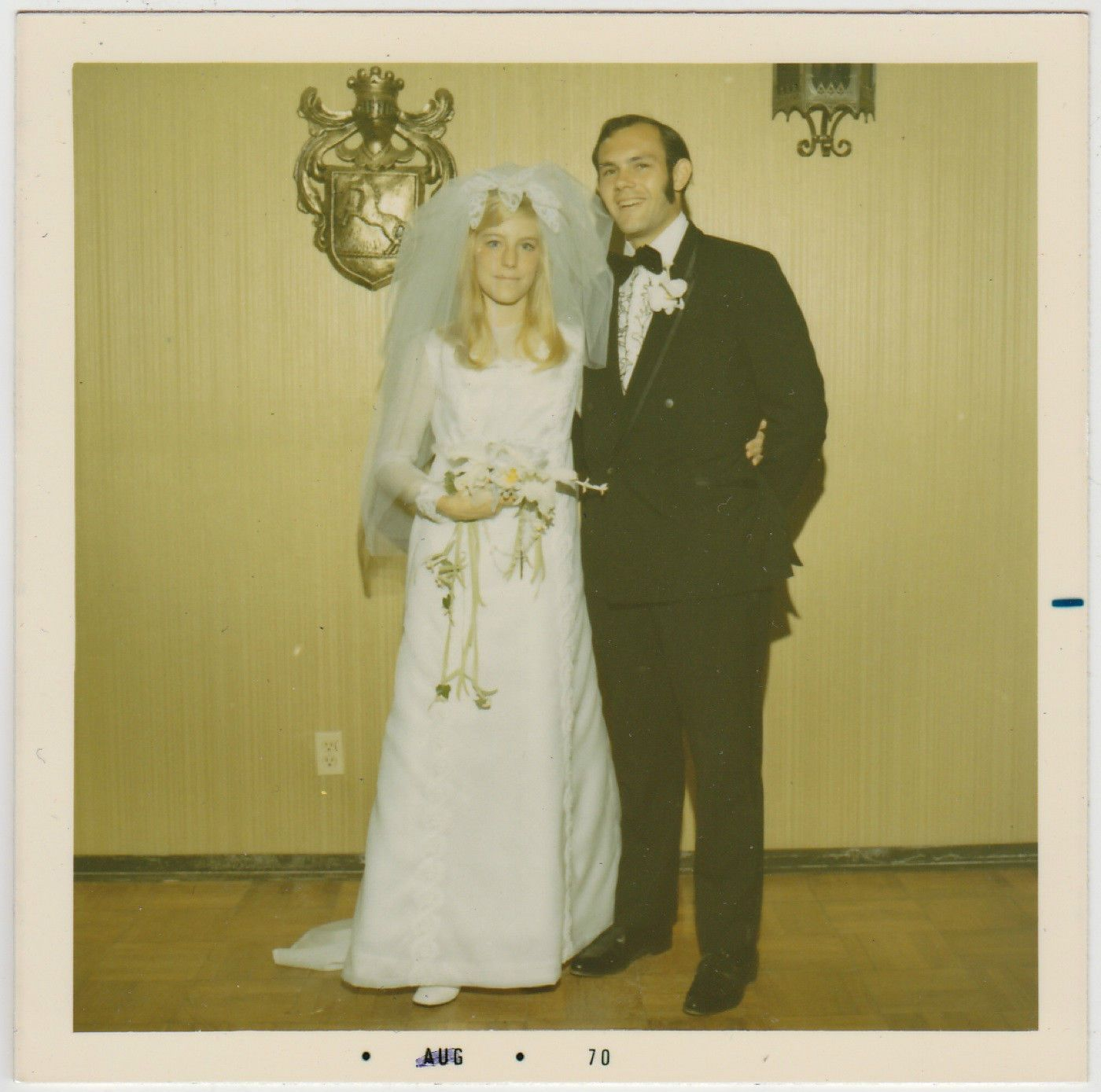 Square Vintage 70s Photo Young Wedding Couple Blond Bride