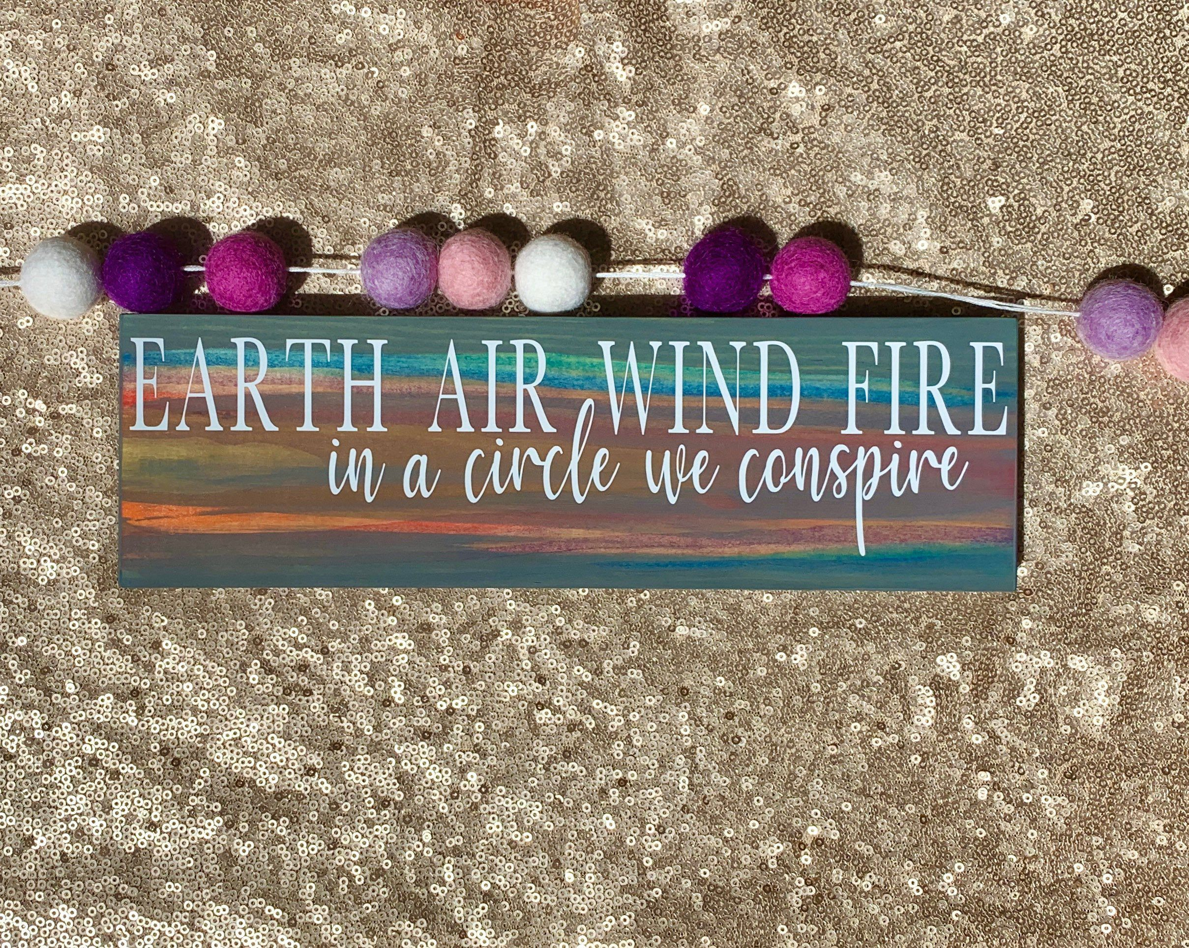 Earth Air Wind Fire Quote Wood Sign   Wiccan Decor   Wiccan Circle Casting   Earth Air Wind Fire Wiccan Sign   Wiccan Home Decor  Boho Witch