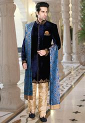 Dark Blue Velvet Readymade Indowestern Suit, Utsav Fashion.com - USD $517.00