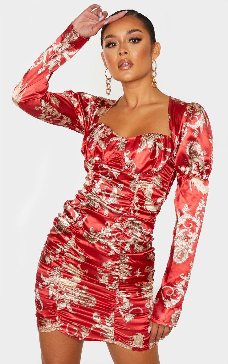 Red Satin Oriental Dragron Print Ruched Bodycon Dress 2