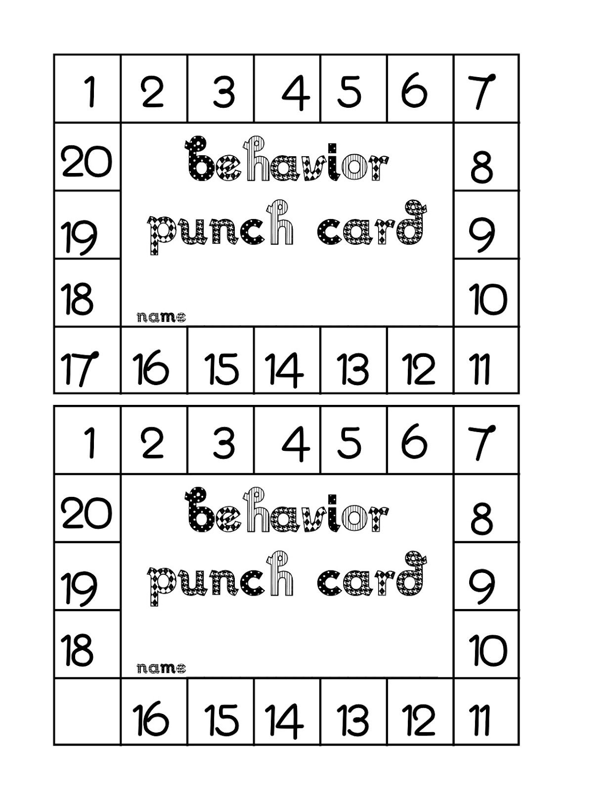 Free Punch Card Template Room A Special Ed Classroom Blog - Free punch card template