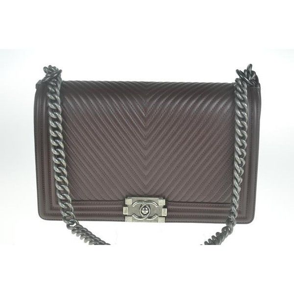 Pre Owned Chanel Boy Chevron Large Brown Shoulder Bag 5 915 Cad Liked