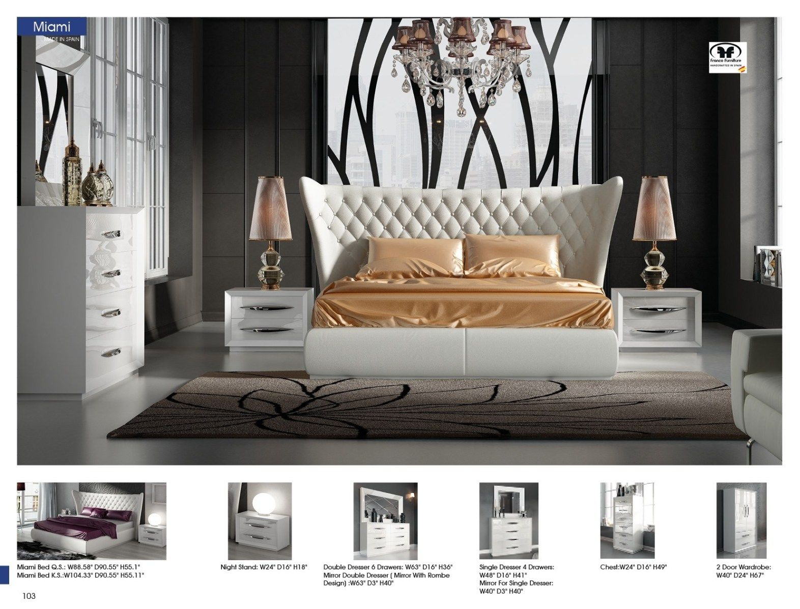 9 Piece Miami Modern Bedroom Set Made In Spain - USA Furniture