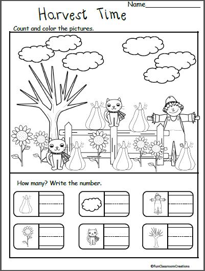 Fall November Thanksgiving Worksheets for Kindergarten - Counting ...