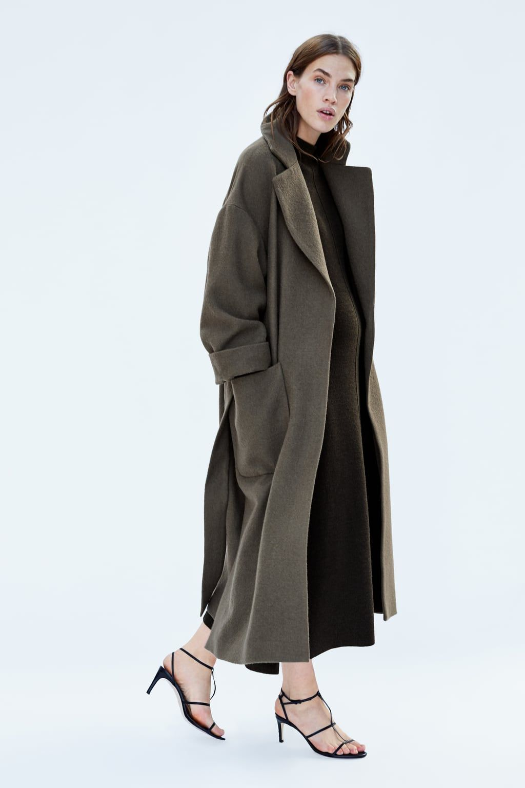 c76e24948e28a 159 GBP Image 2 of LONG COAT WITH BELT from Zara