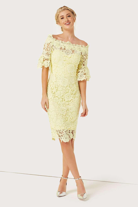 0dd3a4377383 Paper Dolls Lemon Floral Lace Bardot Dress | Dressed to Kill ...