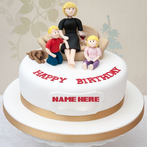 Happy Birthday Dear Mom Round Cake With Your Name.Name