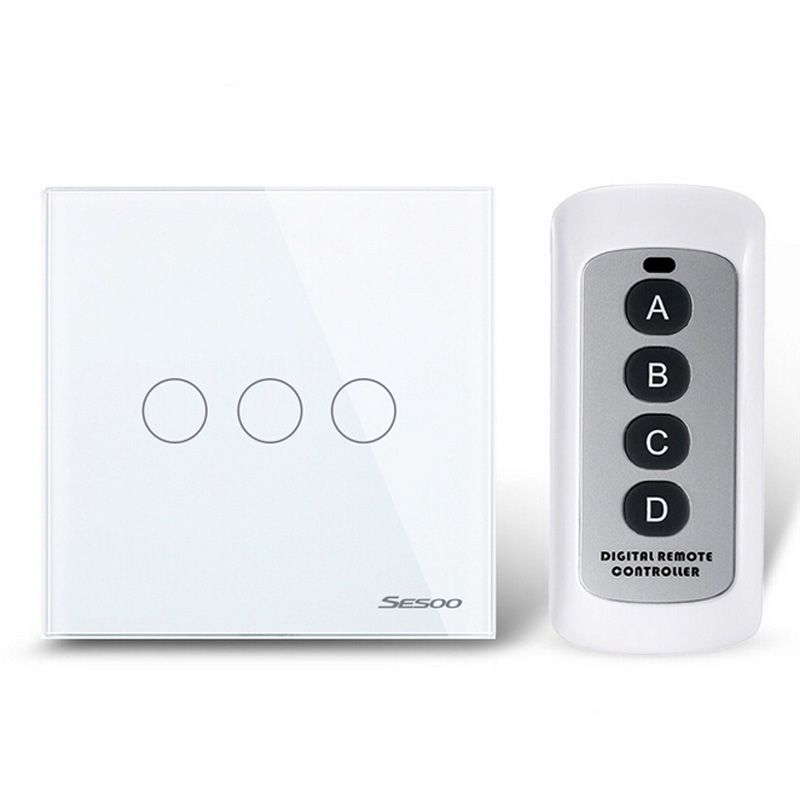 White Crystal Glass Switch Panel 3 Gang 1 Way Remote Control ...