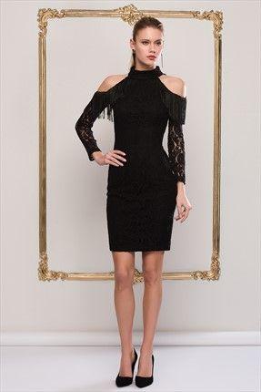 Kadin Siyah Puskullu Elbise Siyah Kisa Elbise Elbise Modelleri Mini Elbise