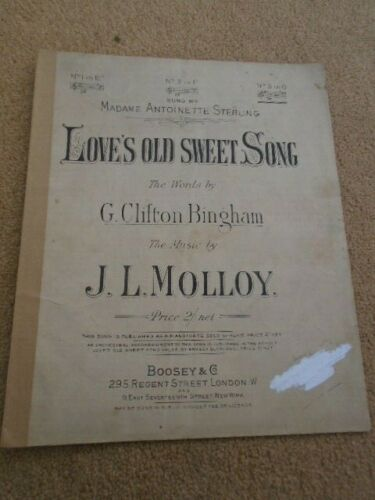 Love's Old Sweet Song C Clifton Bingham J L Molloy Vintage Sheet Music #vintagesheetmusic