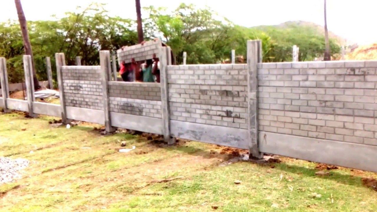 Brick Pattern Garden Fence Using Concrete Gravel Boards Backyard Fences Fence Design Garden Fence